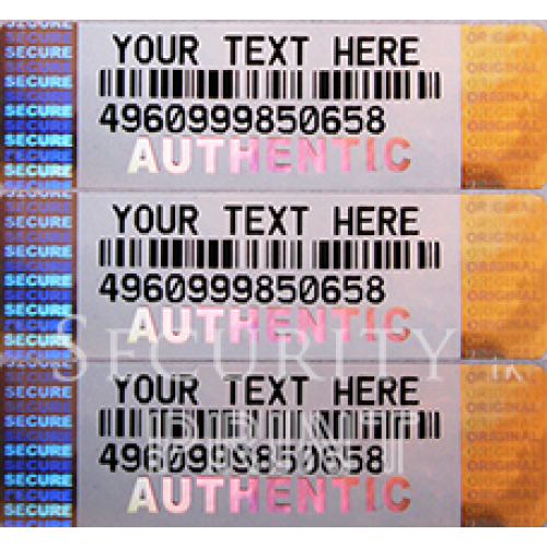 Barcode Label 50x14mm Silver Self-Adhesive Hologram Security sticker BCL5014-1SP Custom Personalised Holograms